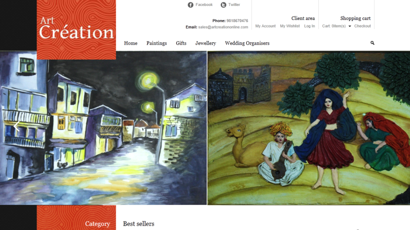 This is ArtCreationOnline home page.